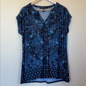 89th & Madison Blue Floral & Paisley Tunic L